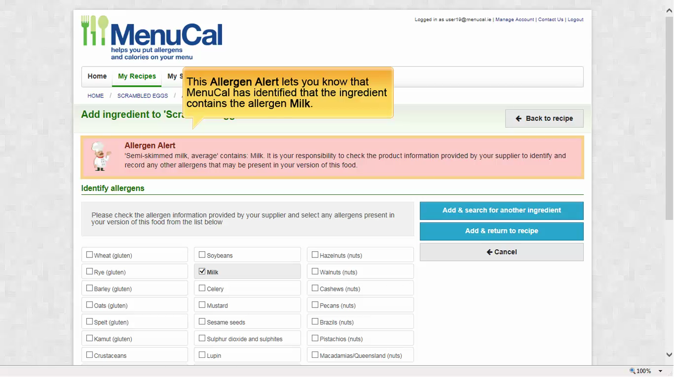Login to MenuCal | MenuCal | Food Safety Authority of Ireland